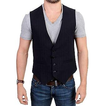 Black striped cotton casual vest -- SIG1250053