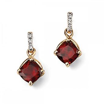 Elements Gold Elements 9ct Yellow Gold Garnet Earring GE2080R