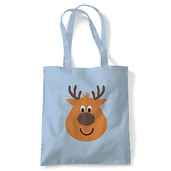Cartoon Reindeer Tote | Christmas Xmas HoHoHo Season Greetings Merry | Reusable Shopping Cotton Canvas Long Handled Natural Shopper Eco-Friendly Fashion