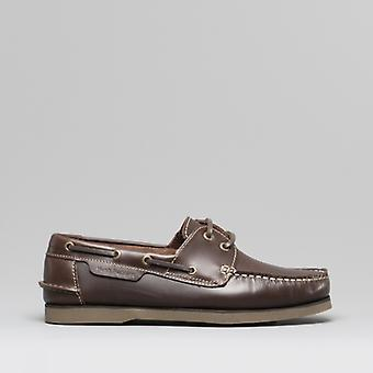 Hush Puppies Henry Mens Leather Deck Shoes Brown