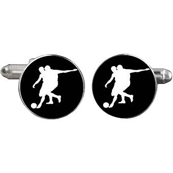 Bassin and Brown Footballer Cufflinks - Black/White