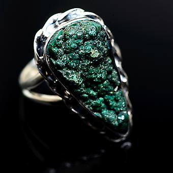 Large Blister Malachite Ring Size 7.5 (925 Sterling Silver)  - Handmade Boho Vintage Jewelry RING982986