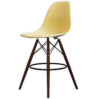 Charles Eames Style Cream Plastic Bar Stool - Walnut Legs