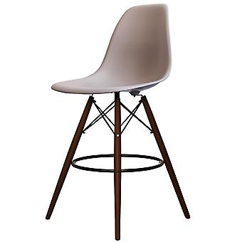 Charles Eames Style Light Grey Plastic Bar Stool - Walnut Legs