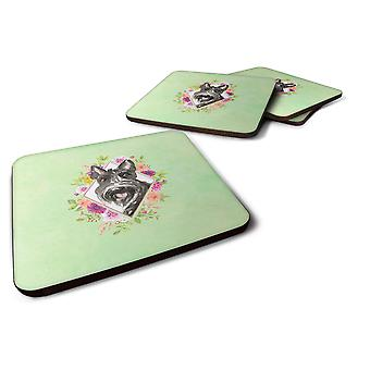 Set of 4 Scottish Terrier Green Flowers Foam Coasters Set of 4