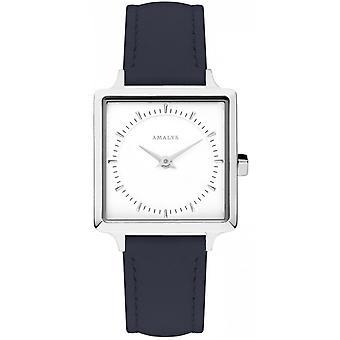 Amalys Constanza - correa de cuero azul acero mujer reloj blanco marcado