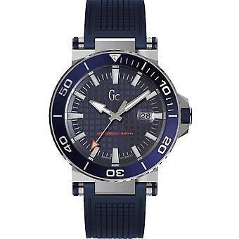 Assista Y36003G7 GC - caso de Silicone azul de homem mostrador azul pulseira de aço cinza código de mergulhador