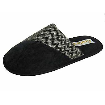 Coolers Mens Dimpled Herringbone Fleece Fabric Mule Slippers