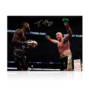 Tyson Fury Signed Boxing Photo: Fighting Deontay Wilder