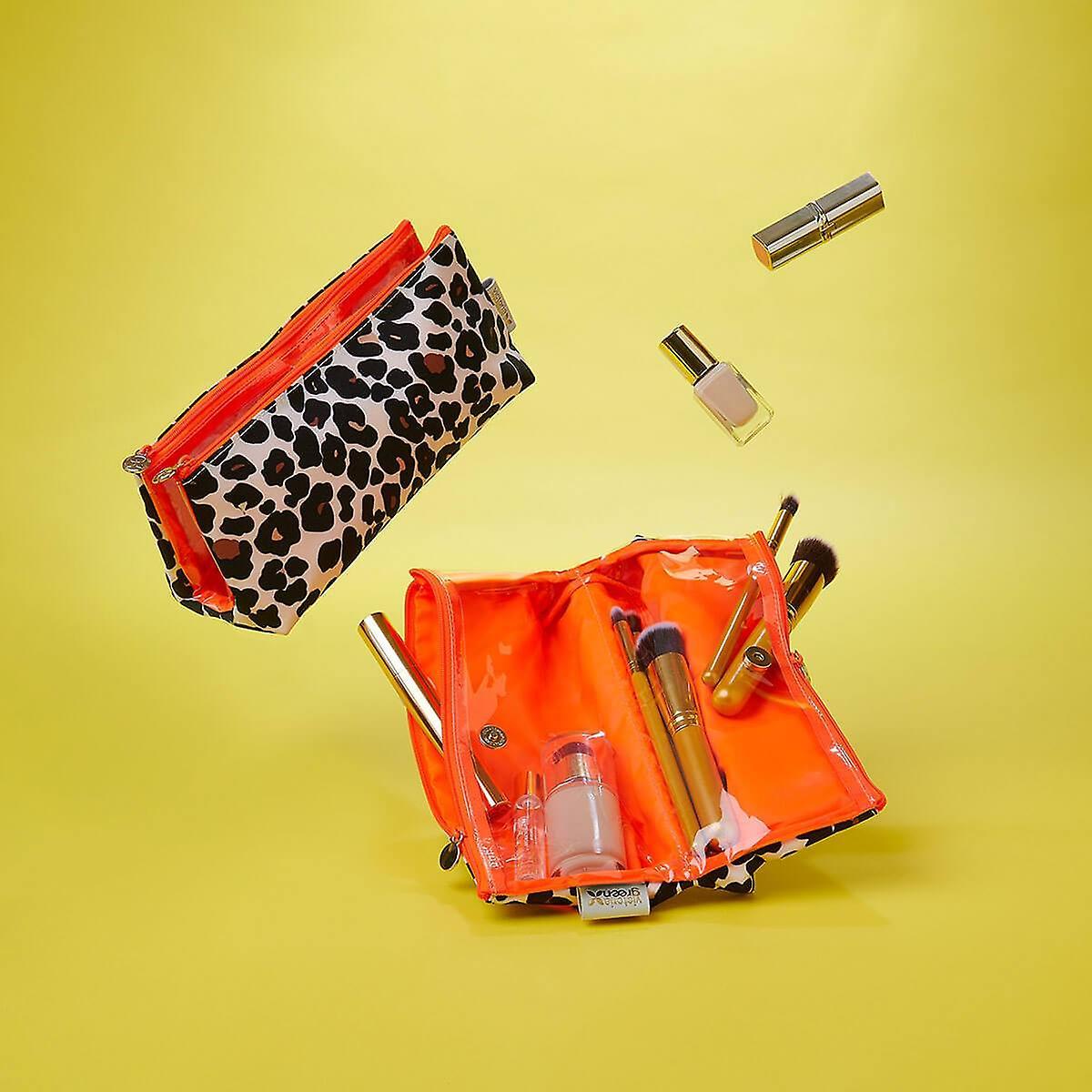 'victoria green' lauren folding makeup bag in leopard tan