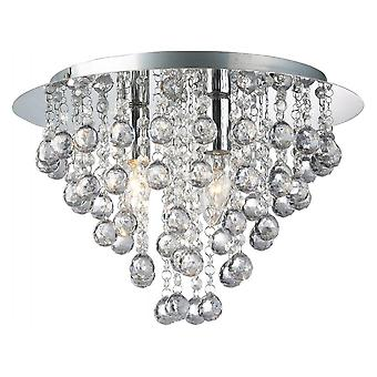 THLC Modern 5 Light Round Flush Ceiling Chandelier With Round Droplets