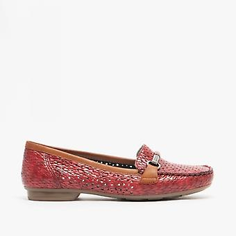 Rieker 40055-35 Ladies Perforated Loafers Red