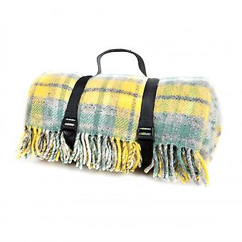 Tweedmill Cottage Check Polo Picnic Rug With Waterproof Backing - Ocean