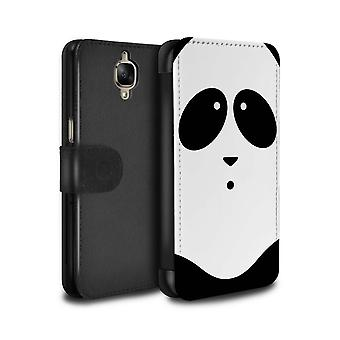 STUFF4 PU Leather Wallet Flip Case/Cover for OnePlus 3/3T/Panda/Cartoon Animal Faces