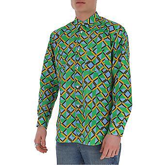 Comme Des Garçons Shirt S280321 Men's Green Cotton Shirt