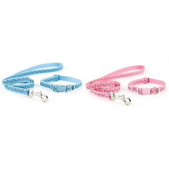 Ancol Small Bite Paw N Bone Dog Collar and Lead Set