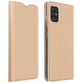Slim flip wallet case, Business series for Samsung Galaxy A51 - Rose gold