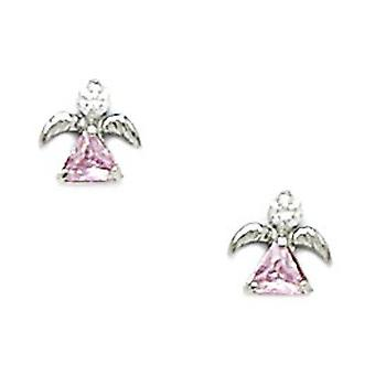 14k White Gold Pink CZ Cubic Zirconia Simulated Diamond Religious Guardian Angel Screw back Earrings Measures 7x7mm Jewe
