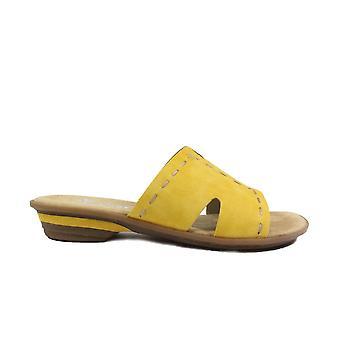 Rieker 63492-68 נשים צהובות להחליק על סנדלי הפרד