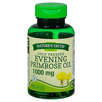 A verdade fria prensada óleo de prímula à noite, 1000 mgs, softgels, 60 ea