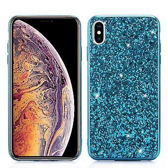 IPhone XR tapauksessa sininen glitter jauhe suojakansi, joustava runko