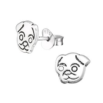Dog - 925 Sterling Silver Plain Ear Studs - W26171x