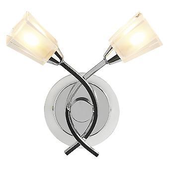 Dar belysning Austin dobbelt væglampe i poleret krom