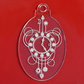 6 PK Clock Time Oval Clear Acrylic Christmas Decorations