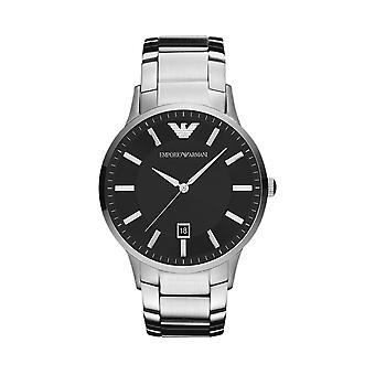Emporio Armani AR2457 Men's Black Dial Watch - Zilver