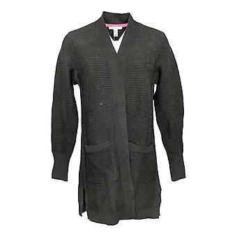 Isaac Mizrahi Live! Women's Sweater Textured Stitch Cardigan Black A373652