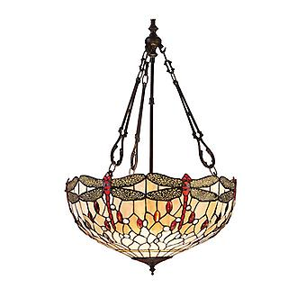 Inverted Pendant Light 50 Cm Dragonfly Beige, Glass And Metal