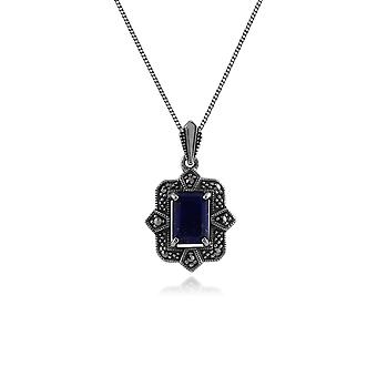 Art Deco Style Octagon Lapis Lazuli & Marcasite Hangketting in 925 Sterling Silver 214P297803925
