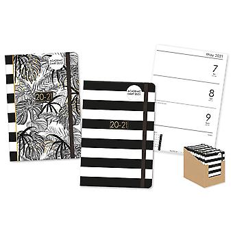 A5 Monochrome Jungle Tropical Noir Striped Week to View Mid-Year Academic Diary 20-21