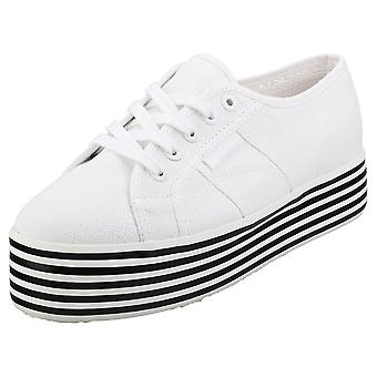Superga 2790 Cotw Stripes Womens Flatform Trainers in White Black
