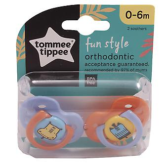 Tommee Tippee 2 Baby Soothers 0-6m 3 Fun Style Designs - Hippo & Zebra