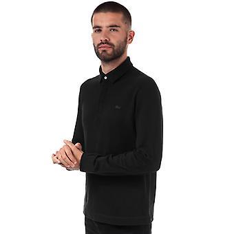 Men's Lacoste Regular Fit Paris Long Sleeve Polo in Black