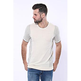 Circle neck patterned cream knitted t-shirt