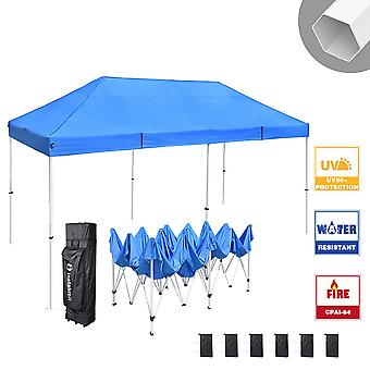 Instahibit 10x20 ft Pop Up Canopy Tent CPAI-84 Commercial Outdoor Canopy Shade Trade Fair Party Tent 1680D Roller Bag