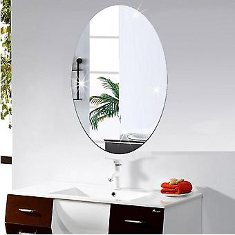 Mirror Wall Sticker Personality Art Decor Mirror Oval Self adhésif pour la chambre,