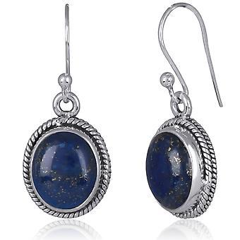 ADEN 925 Sterling Silver Lapis Lazuli oval Shape Earrings (id 4280)