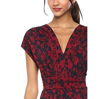 Brand - Lark & Ro Women's Sleeveless V-Neck Dress, Burgundy/Navy Flora...