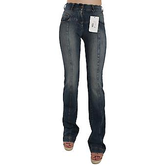 Cavalli Blue  Denim Regular Stretch Bootcut Flared Pants