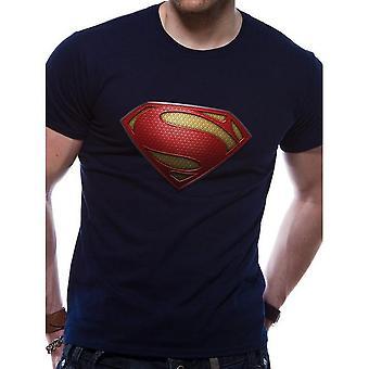 Superman Unisex Adultes Man Of Steel Textured Logo Print T-Shirt