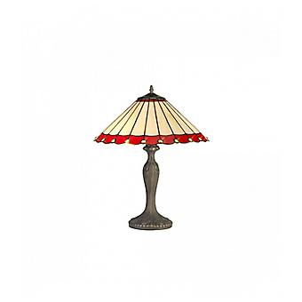Calais 2 Light Curved Table Lamp E27 With 40cm Tiffany Shade, Red/c/crystal/aged Antique Brass
