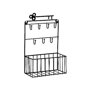 Wrought Iron Rack Wall Mounted Rack Home Wall Decoration Black