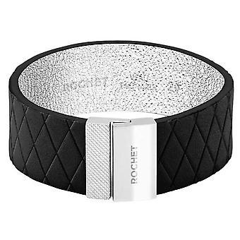 Pulsera Rochet FB1620301 - Acero DIVA - Negro Cuero Enlace 20mm Cierre de Imán de Mujer