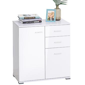 HOMCOM Modern High Gloss Side Cabinet Table Sideboard Chest of Drawer Bedroom Living Room Storage Furniture (White