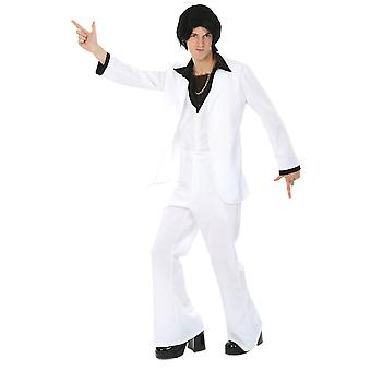 Orion Costumes Mens White Disco Fever 70s Music Party White Suit Fancy Dress