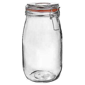 Argon Tableware Glass Storage Jar with Airtight Clip Lid - 1.5L - Orange Seal