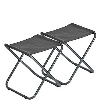 2 Piece Classic Folding Stool - Lightweight Material Practical Foldable Design - Grey